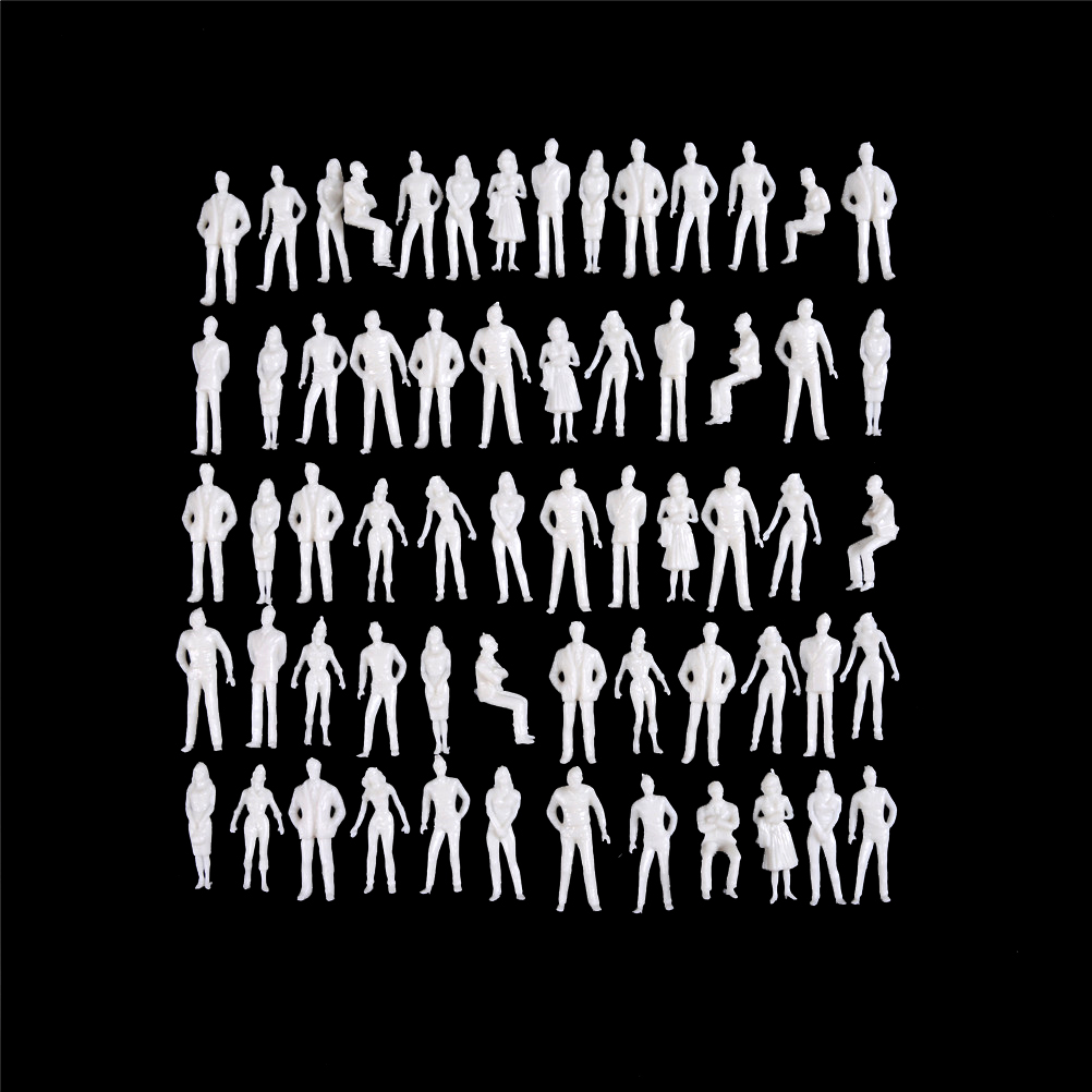 10Pcs/lot 1:50 scale model miniature white figures Architectural model human scale model ABS plastic peoples 35mm image