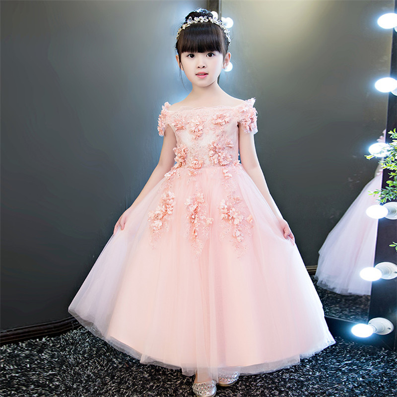 2018 Noble Pink Children Girls Fashion Shoulderless Birthday Wedding Party Long Dress Babies Girls Flowers Princess Lace Dress half sleeve toddler girls show performance lace flowers white christening noble wedding princess bowknot party formal dress