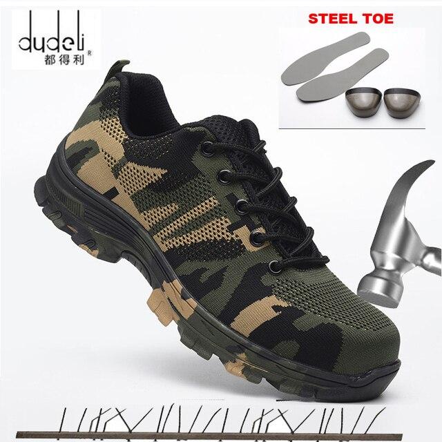 Kích Thước lớn 36-48 Unisex An Toàn Giày Người Đàn Ông Làm Việc Khởi Động Ngụy Trang Thép Ngón Chân Giày Người Đàn Ông Giày Làm Việc Ngoài Trời Không Khí lưới Khởi Động An Toàn