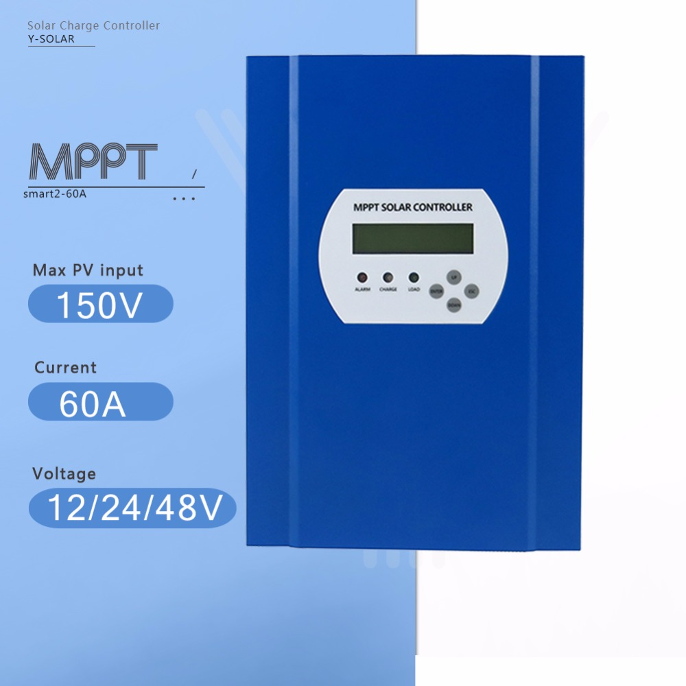 60A MPPT Solar Charge Controller 12V/24V/48V Auto Max 150V Unlimited parallel connection PV Regulator with LCD and LED Display smart2 50a 60a pv regulator 12 24 48v auto solar system charge controller with rs232 lan and lcd display