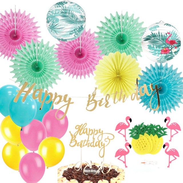 26pcs Flamingo Decoration Set Balloons Pineapple Garland Happy Birthday Banner Cake Topper Summer Hawaiian Party