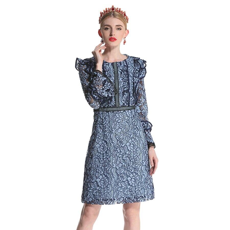 Femmes Royal Manches Robes Pleine Chaude Mode D'été 2019 Haute Flare Qualité As Bleu De Robe Mini Dentelle Broderie Douces Photo Évider ZrwZSC