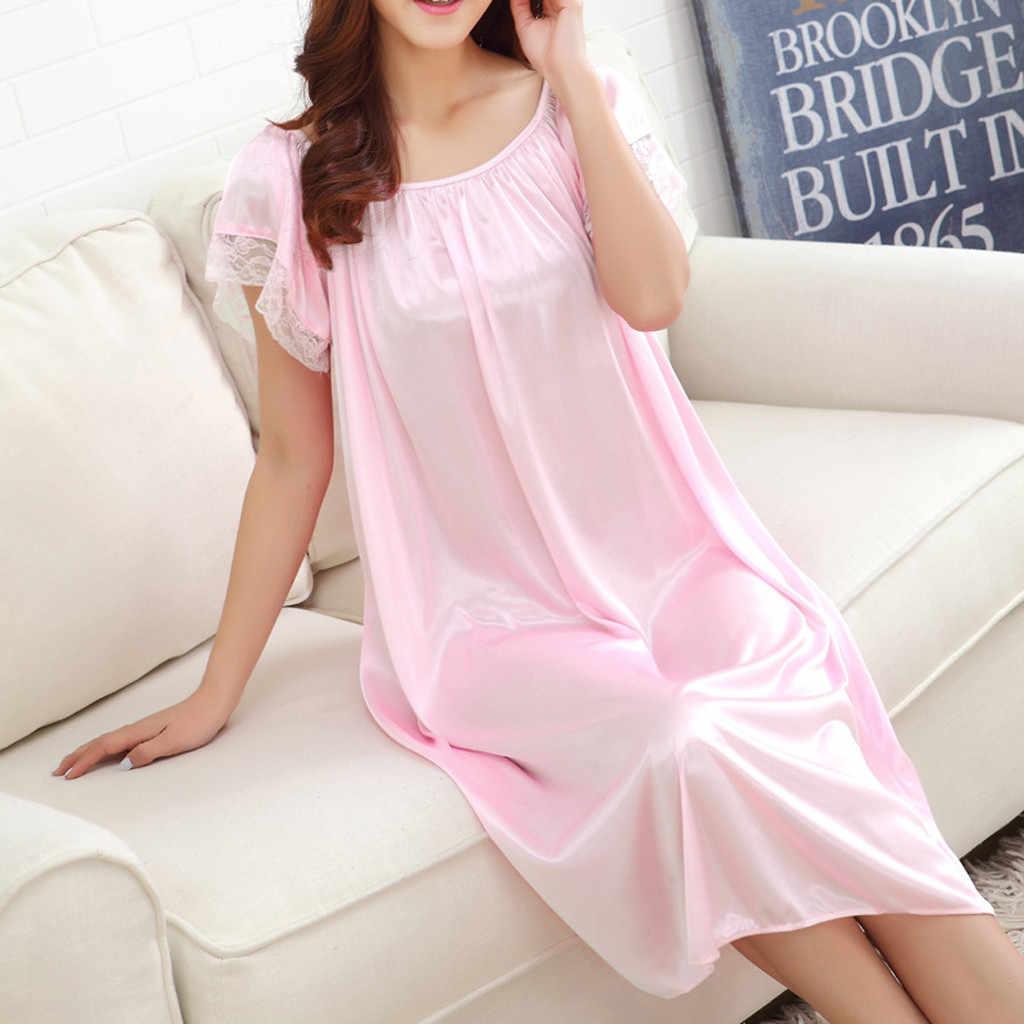2019 verano Mujer hogar encaje seda hielo sexy camisón largo chicas suelto de talla grande ropa de cama tamaño grande camisón noche vestido falda