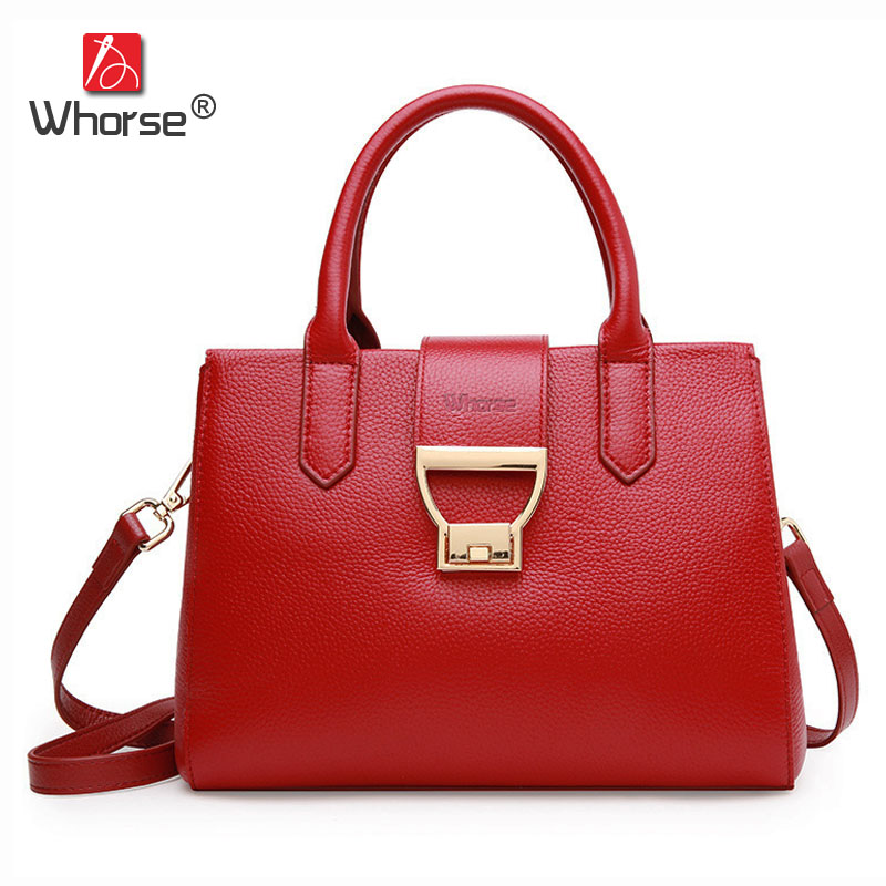 [WHORSE] Brand Luxury Handbags Women High Quality Messenger Bags Genuine Leather Casual Tote Real Cowhide Crossbody Bag W09110 simple design cowhide women handbags high quality genuine leather shoulder bags fashion casual small box tote messenger bag 2017
