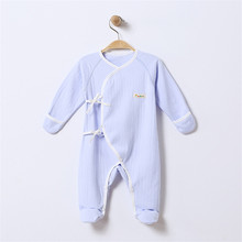 Baby Footed Pajamas with Mitten Cuffs Blet Closure 100% Cotton Solid Color Soft Cute Footies Sleepers 0-6 Months