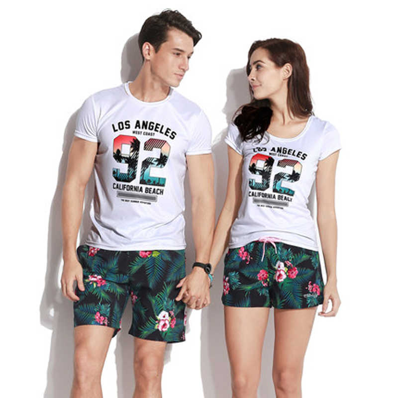 1a24454c82 ... Quick Dry Beach Shorts Men Women Printed Couple Swimwear Elastic Swim  Trunks Sport Swimming Surfing Lovers ...