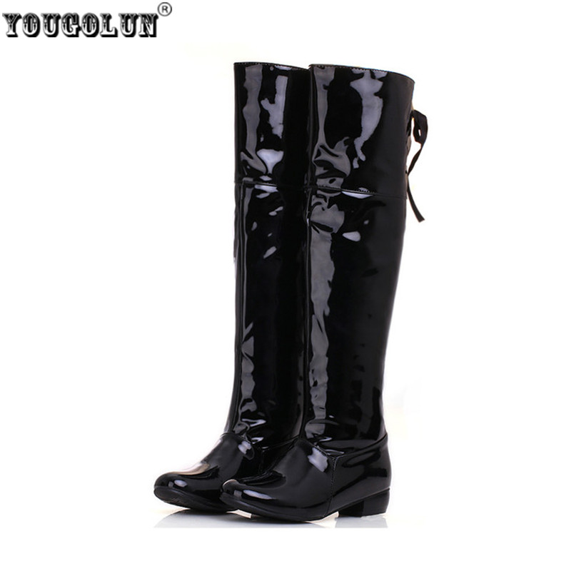 YOUGOLUN Fashion patent PU thigh high boots spring autumn Women knee high rain boots Woman Black white red shoes ladies shoes