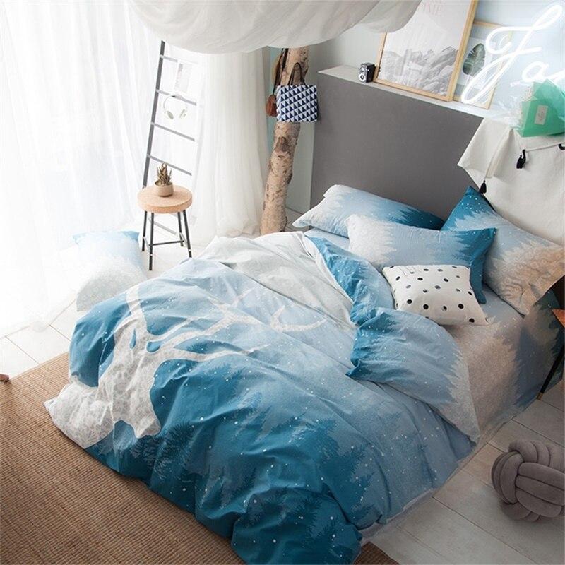Unique Deer Print Light Blue Bedding Sets Queen Size 100% Cotton Print  EC24