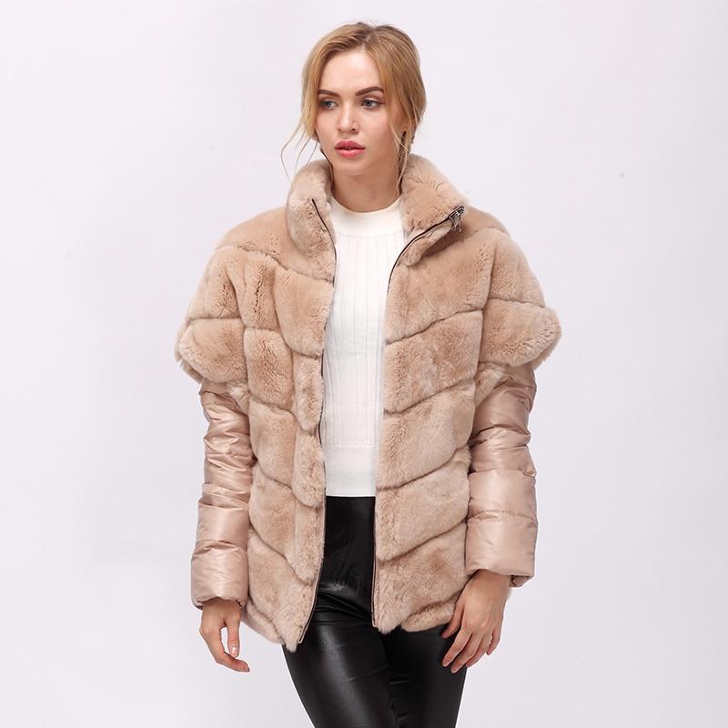 CNEGOVIK Short real rabbit fur jacket women fur real coat rex rabbit real fur coat