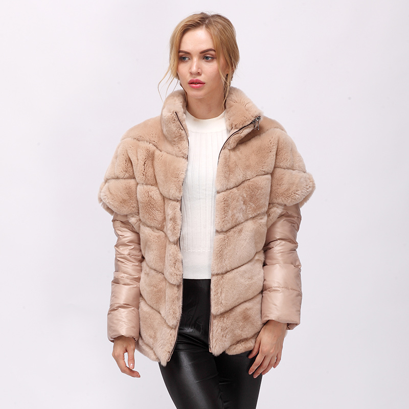 CNEGOVIK real de Curto casaco de pele de coelho mulheres casaco de pele real rex coelho casaco de pele real