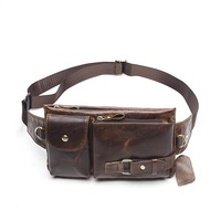 Hot Selling Vintage Men Bag High Quality Soft Skin Waist Packs Genuine Leather Waist Bag Cowhide