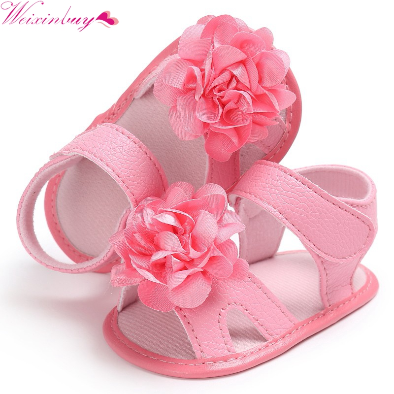 Infant Baby Girl Beach Leather Rubber Sole Sandals Newborn First Walkers Shoes L