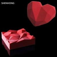 2 UNIDS Diamond Heart + TRIANGULACIÓN Mousse en forma de Molde de Pastel de Silicona Para Chocolates Helados 3D Pastel de moldes Para Hornear Pan