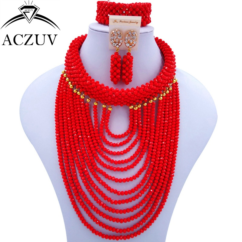 ACZUV Brand Opaque Red African Jewelry Set Nigerian Wedding Beads ART005 aczuv brand opaque red african jewelry set nigerian wedding beads art005