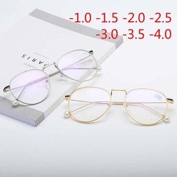 f1b322946e Vintage gafas mujeres ronda de marco de Metal de los hombres gafas  ópticas-1,0-1,5-2,0- 2,5-3,0-3,5-4,0