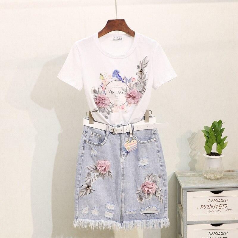 Mode nouveau 2019 été T shirt femmes broderie fleur coton à manches courtes t-shirt hauts + cassé trou Denim jupe deux pièces ensemble