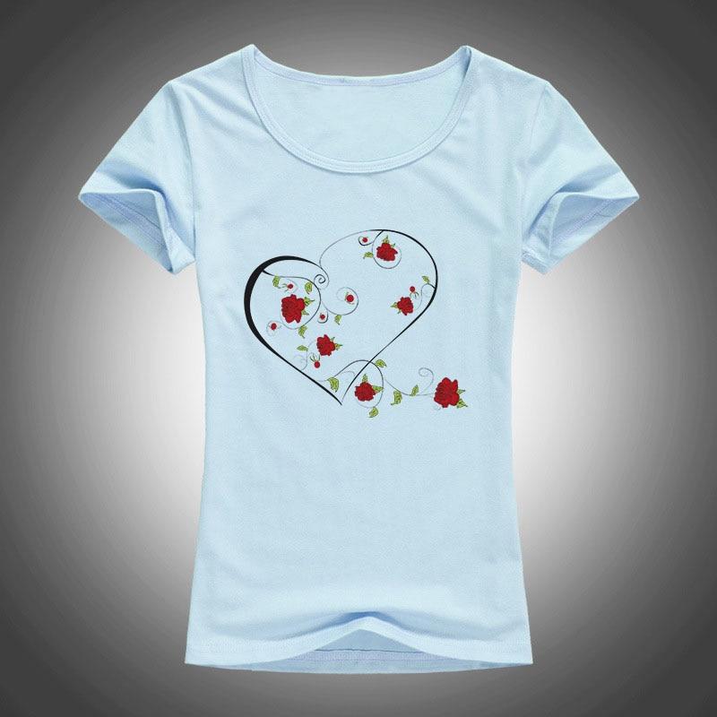 ljetna moda pamučne majice žene LJUBAV ruža vijenac tiskani O - - Ženska odjeća - Foto 3