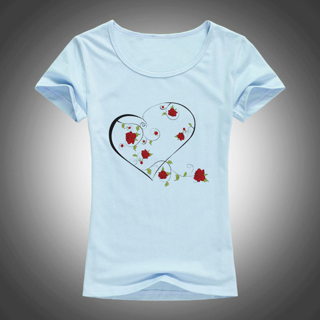 Summer Heart and Roses Printed Women's T-Shirt