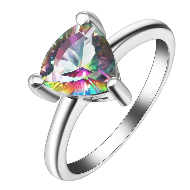 mystic rainbow engagement rings luxury natural stone 2017 hot triangle cz gem fashion silver color jewelry - Rainbow Wedding Rings