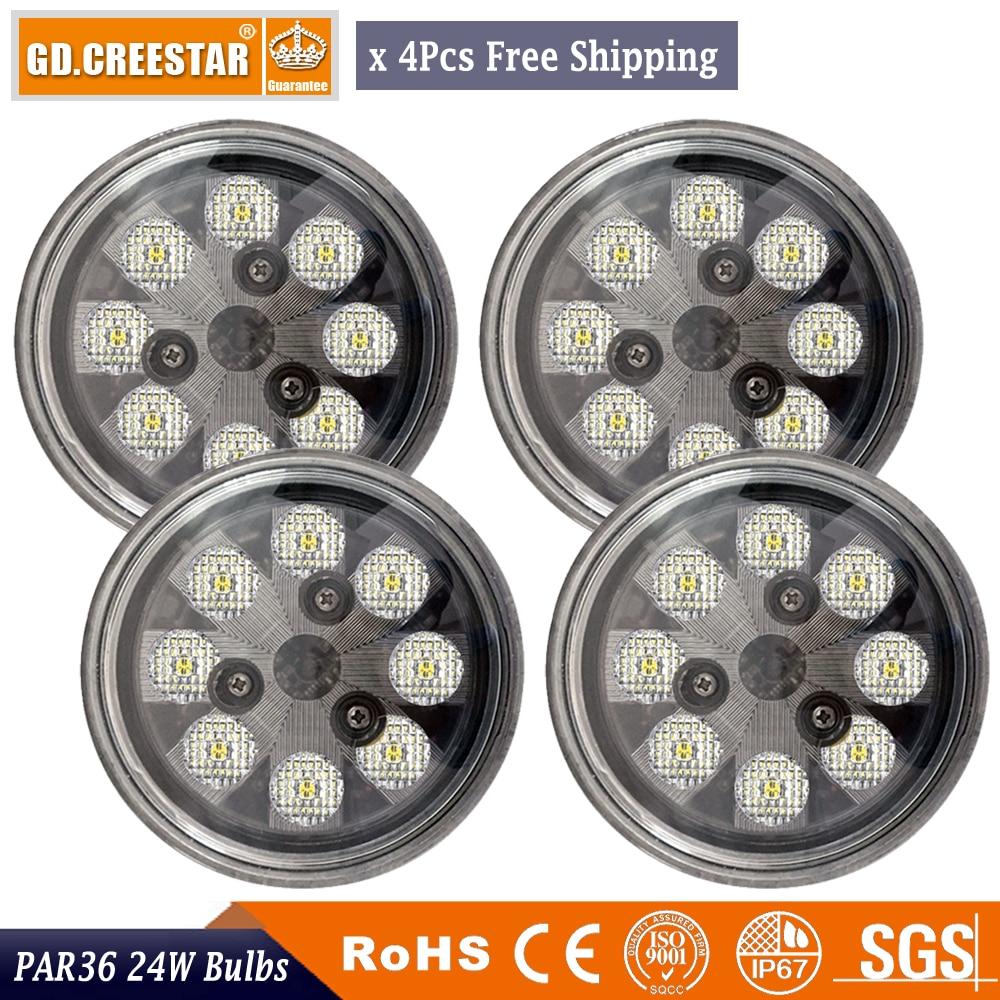 Par36 LED ronde puissance inondation/trapèze/Spot/feux de croisement tracteur Aviation ampoules avion PAR 36 feux de travail x4pcs
