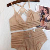 Wriufred French Bralett Sexy Lace Lingerie Plus Size Wire Free Thin Bra Suit Girl Underwear Big Chest Bra Set