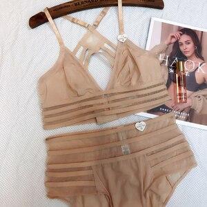 Image 1 - Wriufred ensemble soutien gorge français Sexy en dentelle, soutien gorge fin, sous vêtements pour filles, Lingerie grande taille, sans fil