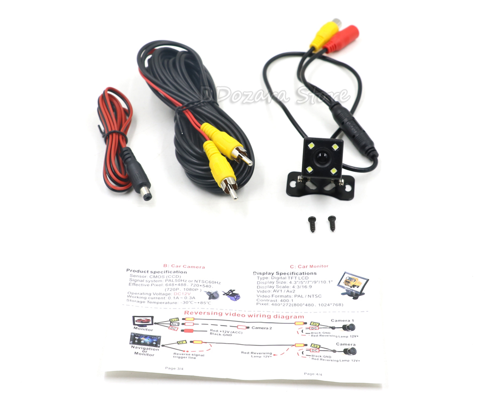 Rear View Camera Rearview Hd Ccd Wide Angle Waterproof Universal Reversing Monitor Tft Lcd Wiring Diagram 1 2 3 4 5