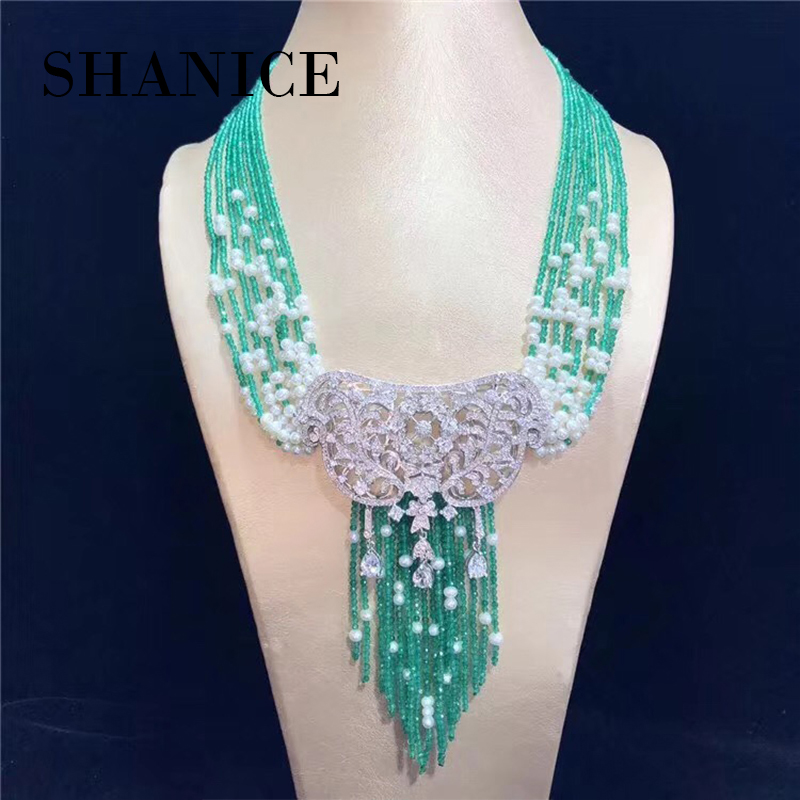 SHANICE Big DIY Women Pearls Tassel Suspension Pendant Necklace Making Material Hollow Connector Pearls Jewelry Accessories free shipping imitation pearls chain flatback resin material half pearls chain many styles to choose one roll per lot