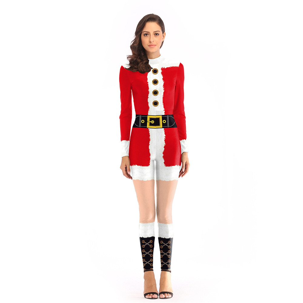 Cosplay Christmas Santa Claus green Elk Gift Stripe Elf 3D Print Lycra Stretch Jumpsuits for adult Bodysuit Christmas Costumes