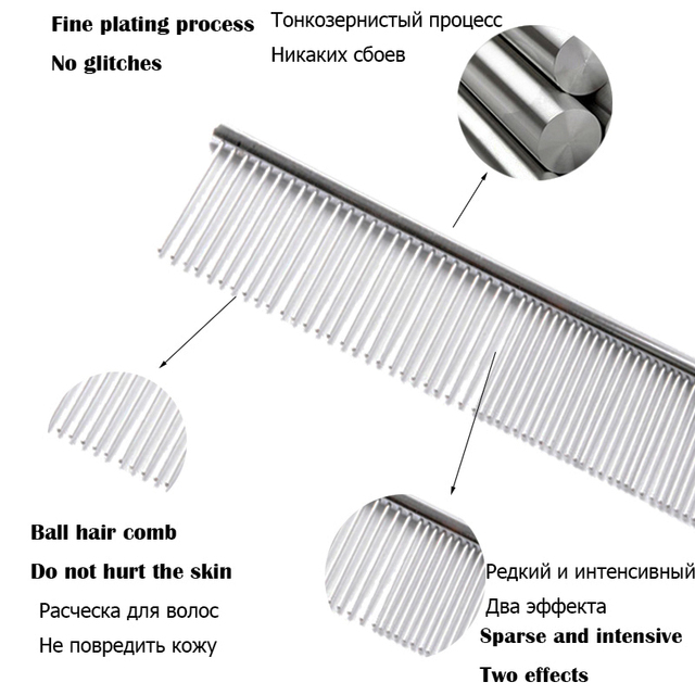 Pet Dog Pin Comb Portable Double Use Stainless Steel Dog Grooming Tool for Long Hair  Dog Brush For Chihuahua Yorkshire