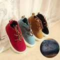 2016 Winter Fashion Boots for Boys Girls British Style Cashmere Cotton Children Boots Solid Color Lace Up Sneakers Kids Shoes