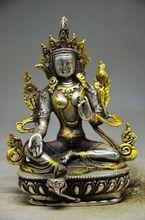 Exquisite Tibet copper gilt silver Tibetan White Tara Buddha Statue 5.6