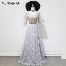 VENSANAC 2018 V Neck Feathers A Line Metal Sash Long Evening Dresses Lace Appliques Half Sleeve Party Prom Gowns