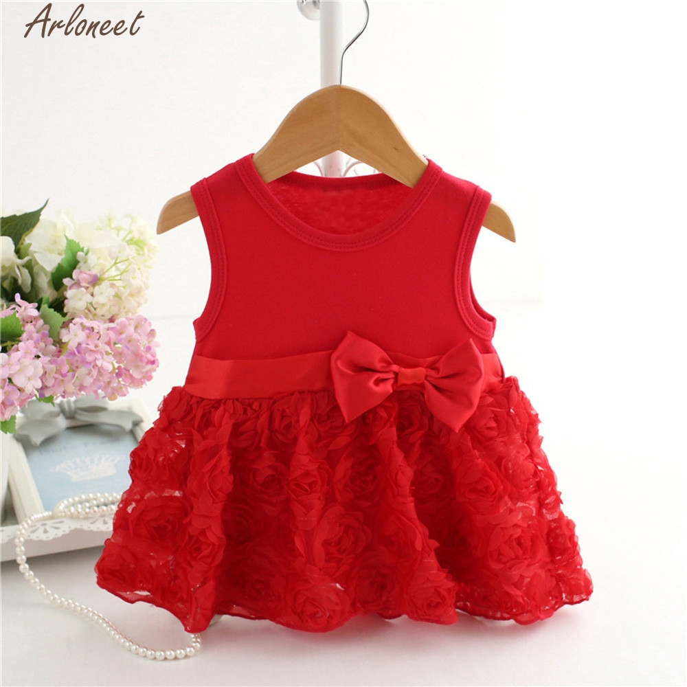ARLONEET Baby Girls Infant Floral Lace Birthday Tutu Bow Clothes Party Princess Dress Girls Summer Clothing Feb1 D25
