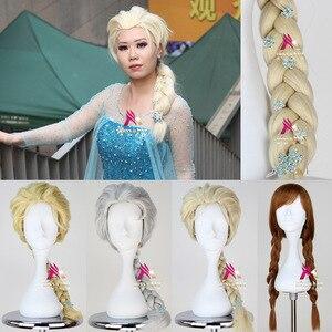 Halloween Sneeuw Koningin Bevroor Vrouwen Queen Elsa blond pruik met sneeuw haarspelden Prinses Anna rollenspel vlecht haar pruik Elsa kostuums