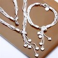 Free Shipping Wholesale Fashion Jewelry Set,Hanging five heart 2 Piece set,925 Sterling silver Necklace&Bracelet&Earrings T048