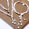 Free Shipping Wholesale Fashion Jewelry Set,Hanging five heart 2 Piece set,925 Sterling silver Necklace&Bracelet&Earrings T048