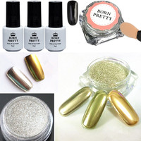 6pcs Set Shinning Mirror Nail Glitter Powder Black UV Gel Nail Art Chrome Pigment Kit With