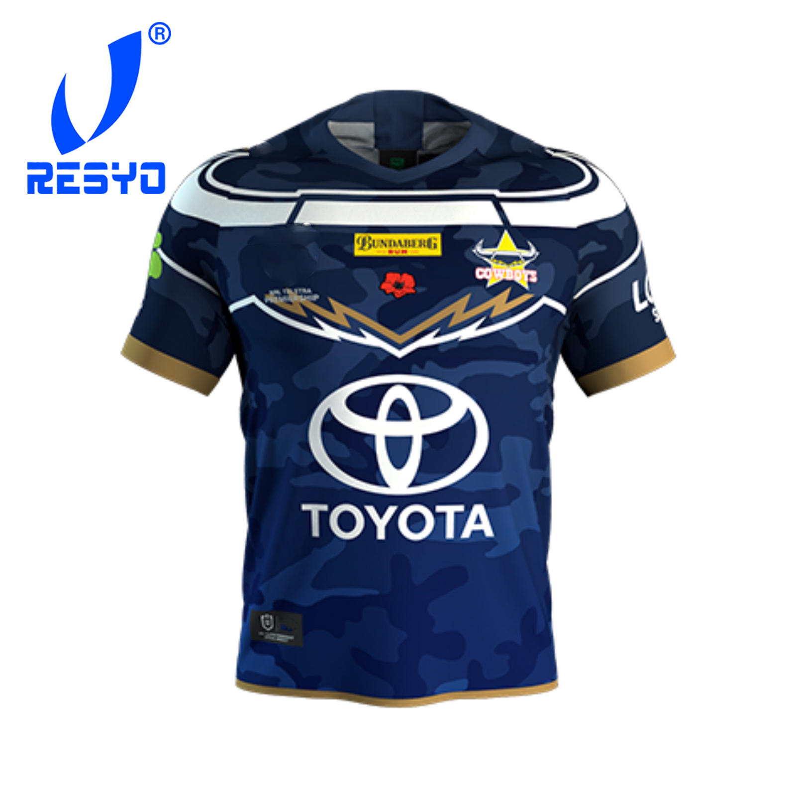 RESYO For North Queensland Cowboys 2019 Men's Defend Jersey Rugby Sport Shirt Size:S-3XL Free Shipping