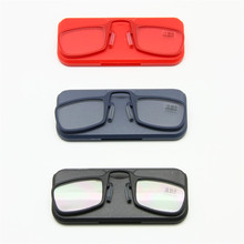 Reading Glasses Nose Clip +1.0 to +3.5 Stick Anywhere, Ultra Lightweight Portable Emergency SOS Wallet Reader with Case