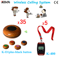 Free Shipping 5 Watch Pagers and 35 Buzzers Wireless Calling Bell System One Button Signal Transmitter For Calling System