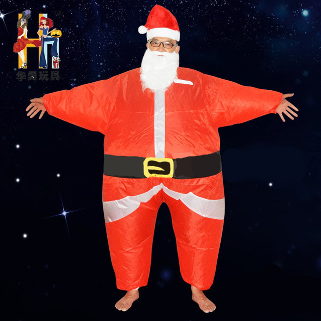 Inflatable Christmas Costum Adult Sant Body Suits Blow Up Red Color Full Party Cosplay
