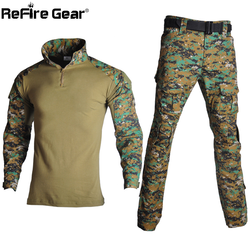 ReFire Gear Camouflage US RU Army Tactical Uniform Men Military Combat Clothes Set Paintball Airsoft Shirt + Cargo Pants No Pads