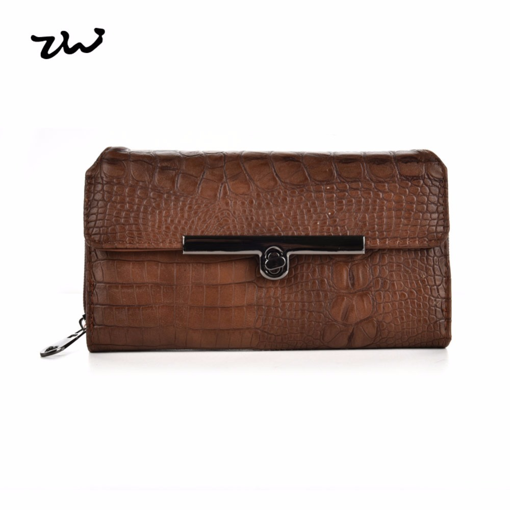 ZIWI Fashion Women Credit Card Wallet Soft Leather Solid Color With Card Holders Pattern Style Long Purse High Quality VKP1435