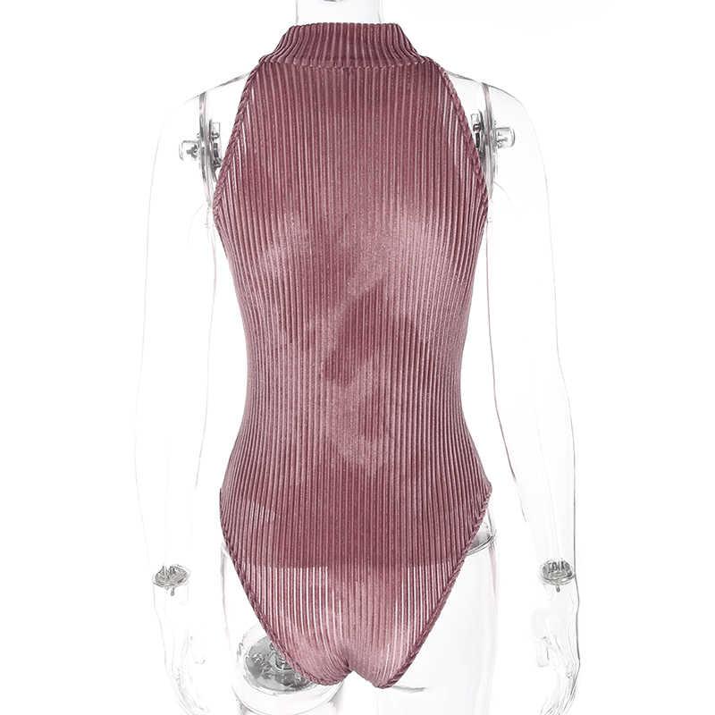 Weekeep водолазка сексуальное боди без рукавов женское весенне-летнее боди Feminino боди облегающие Женские Комбинезоны