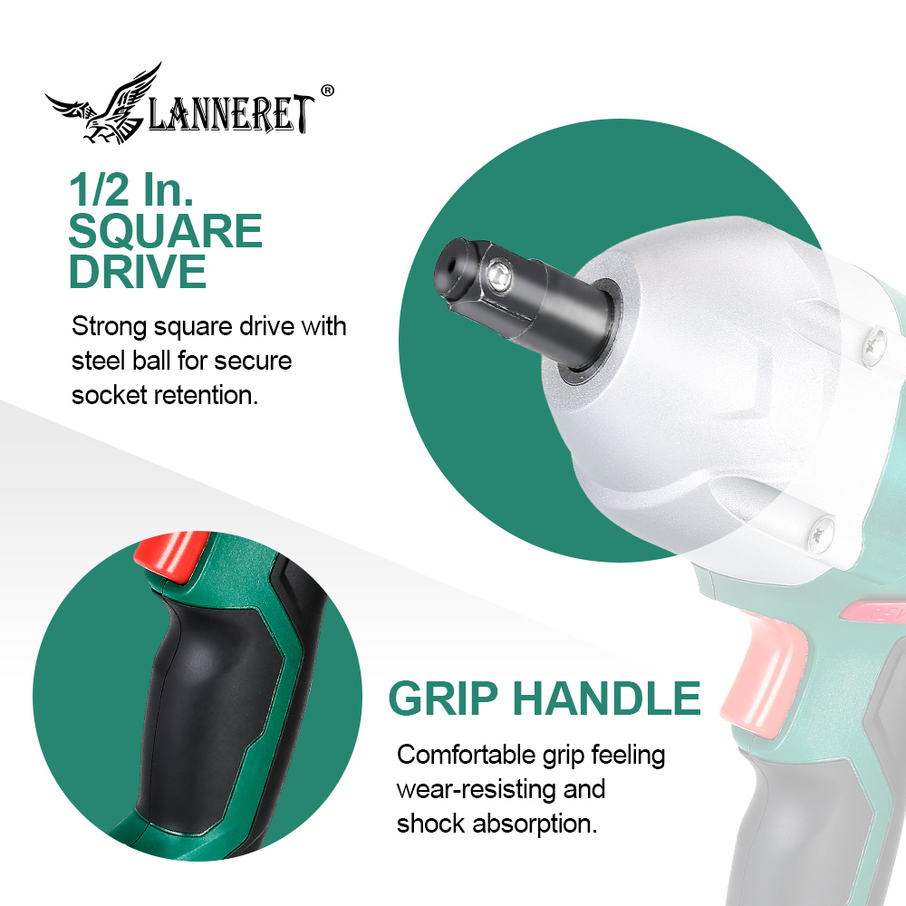 LANNERET 12v Car Electric Wrench 80W Impact Wrench Electric Tire Repair Tool Torque Adjustable LED Plate with 2pc Double Sleeve