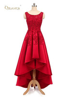 QILAMCA Simple Red Satin High Low Prom Dresses 2018 New Elegant Cap Sleeve Long Prom Dresses