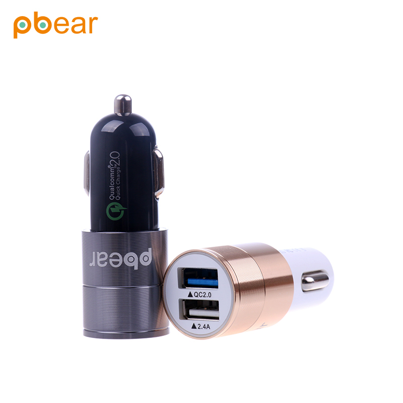 Pbear Portable QC2.0+2.4A Dual USB ports fast charging Micro Auto Car-Styling car charger Multifunctional AU EU UK adapter