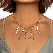 Ожерелье с подвеской в виде звезды и Луны для женщин и девушек, очаровательные ожерелья-чокер, ювелирные изделия для вечеринки, воротники N2452