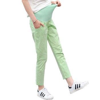 9b718c049e Verano nueve pantalones maternidad ropa alta cintura suelta pantalones de  lino para las mujeres embarazadas embarazo Casual Gravida Wear